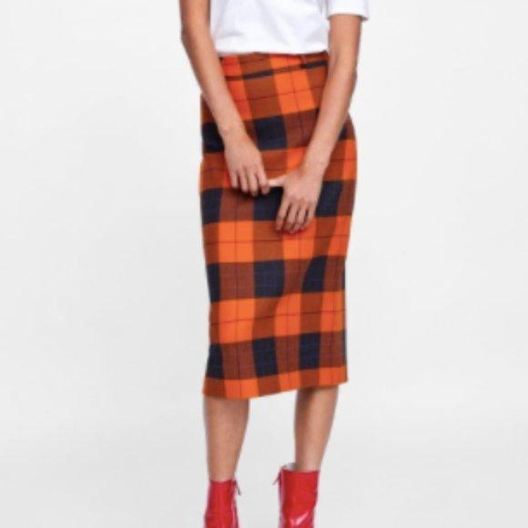 ZARA orange plaid pencil skirt